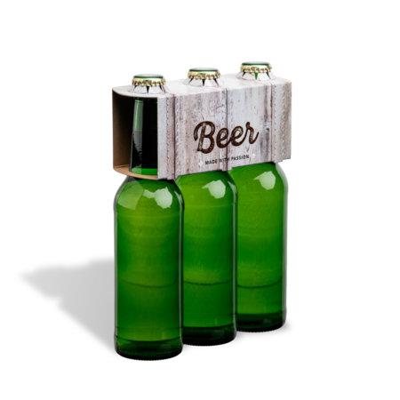 3er Flaschenträger 0,33 l Longneck Motiv Holzoptik