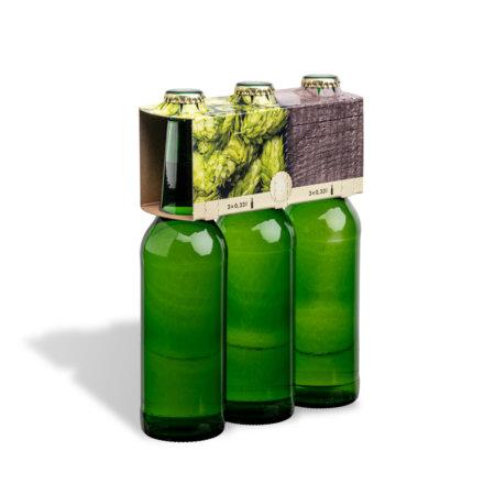 3er Flaschenträger 0,33 l Longneck Motiv Hopfen