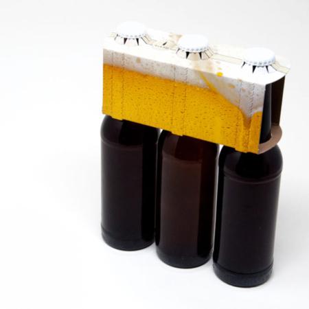 3er Aufsteckträger Motiv Bierschaum 0,33 Liter Longneck Flasche
