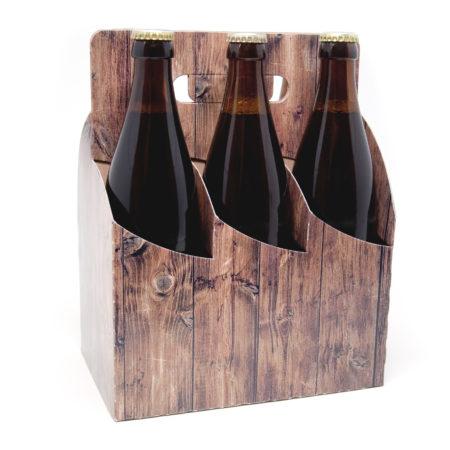 6er Basket Flaschenträger Motiv Holz