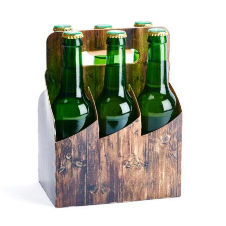 6er Basket Flaschenträger in Holzoptik