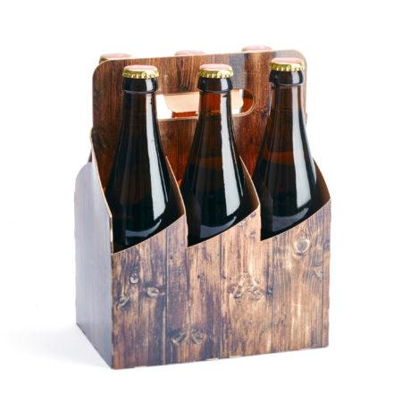 6er Basket Flaschenträger Motiv Holzoptik