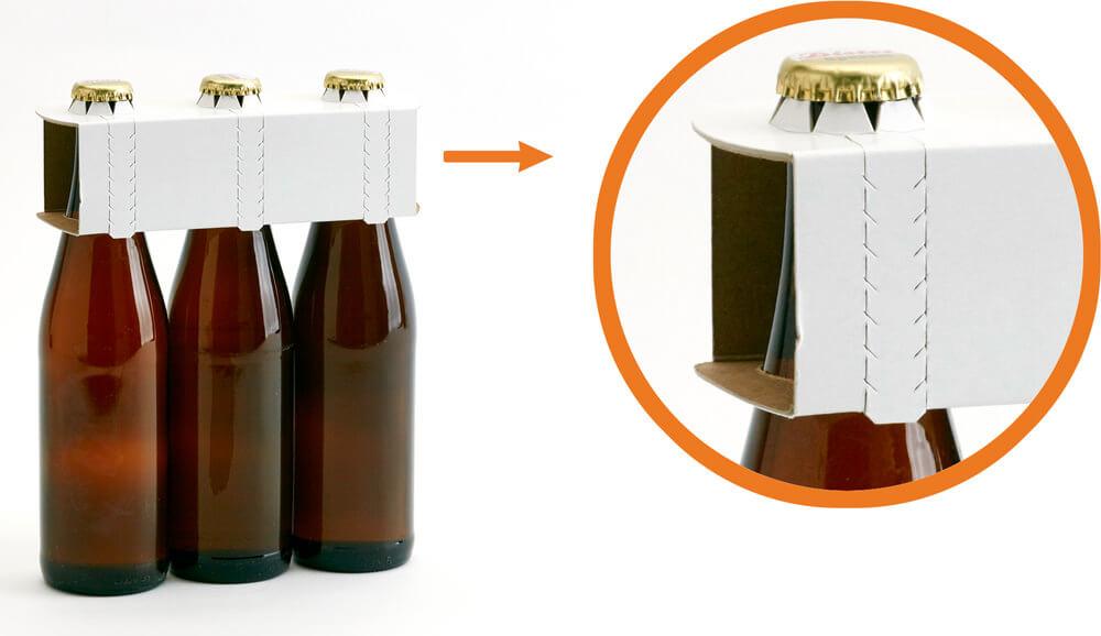 Einfache Entnahme durch Aufreißperforation bei den Flaschenträgern
