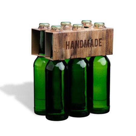 6er Flaschenträger 0,33 l Longneck Motiv Vintage Handmade
