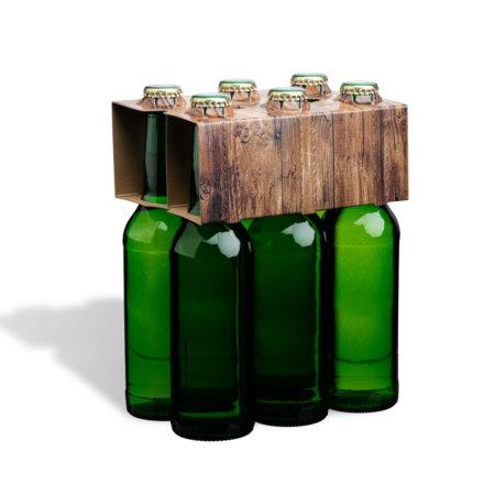 6er Flaschenträger 0,33 l Longneck Motiv Holzoptik