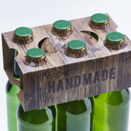 6er Aufsteckflaschenträger Motiv Holzoptik Handmade