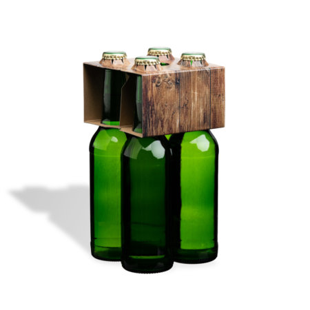 4er Flaschenträger 0,33 l Longneck Motiv Holzoptik