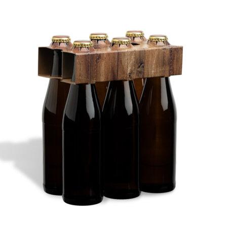 6er Flaschenträger 0,33 l Vichyflasche Motiv Holzoptik
