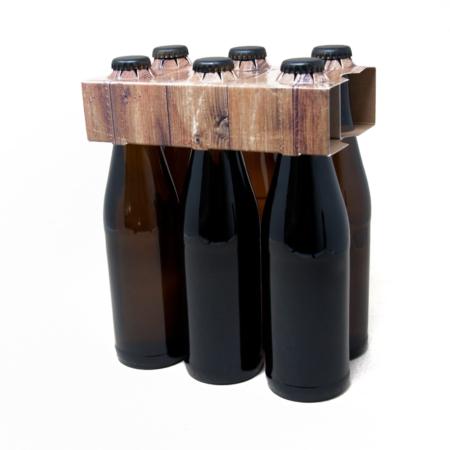 6er Flaschenträger Holzoptik 0,33 Liter Vichyflasche