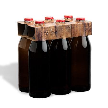 6er Flaschenträger 0,5 l Euroflasche Motiv Holzoptik